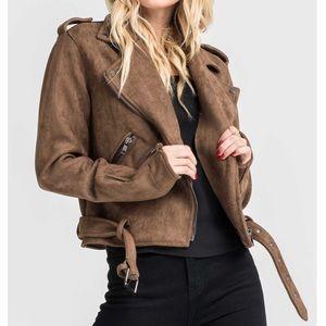 Lush Jackets & Coats - Lush SUEDE BIKER IN MOCHA